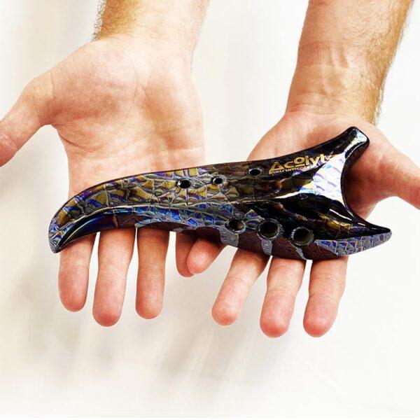 Acolyte Sickle Ocarina - Dm Celtic Companion-purple-blue-hand